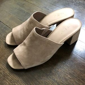 Tan Suede Open Toe Mules